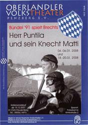 Plakat: Herr Puntila und sein Knecht Matti 2008