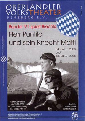 Plakat: Herr Puntila und sein Knecht Matti © OVTP
