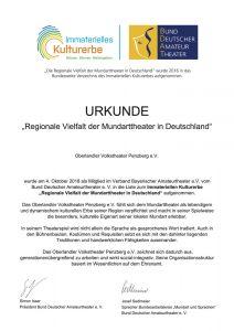 Urkunde Immaterielles Kulturerbe Oberlandler